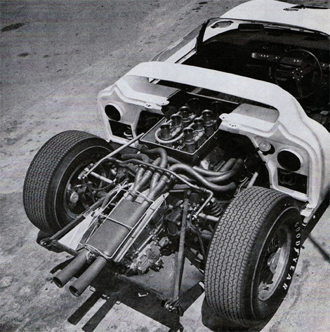 Tuned Length Exhaust System Uses A Resonator In Secondary Stage Atop The Four Speed Colotti Note That The Inner U Joints Are Metalastic Type